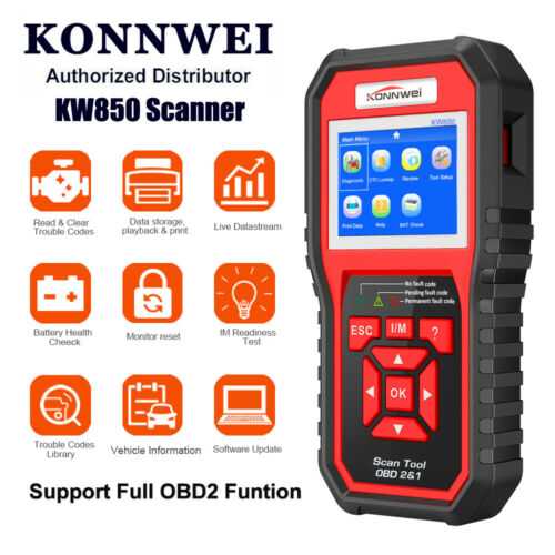 OBD2 Automotive Code Scanner Car Diagnostic Tool Multi-languages KONNWEI KW850