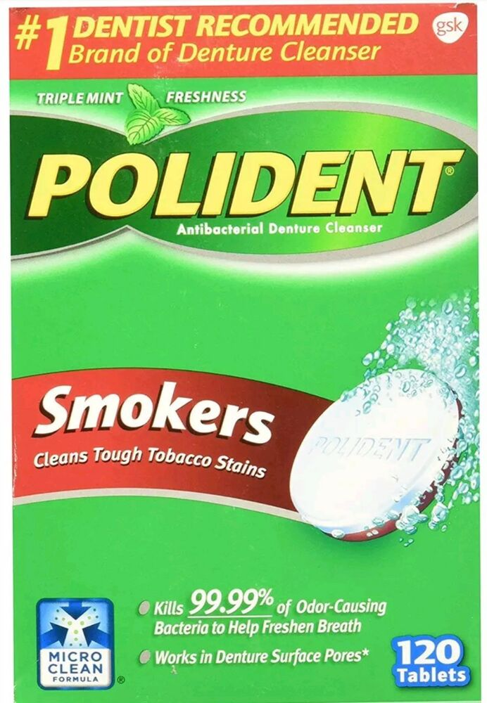 polident smokers denture cleanser tablets 120 count damaged box