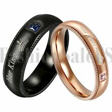 2PCS His Queen Her King Couple Rings CZ lnlaid Promise Wedding Engagement Band