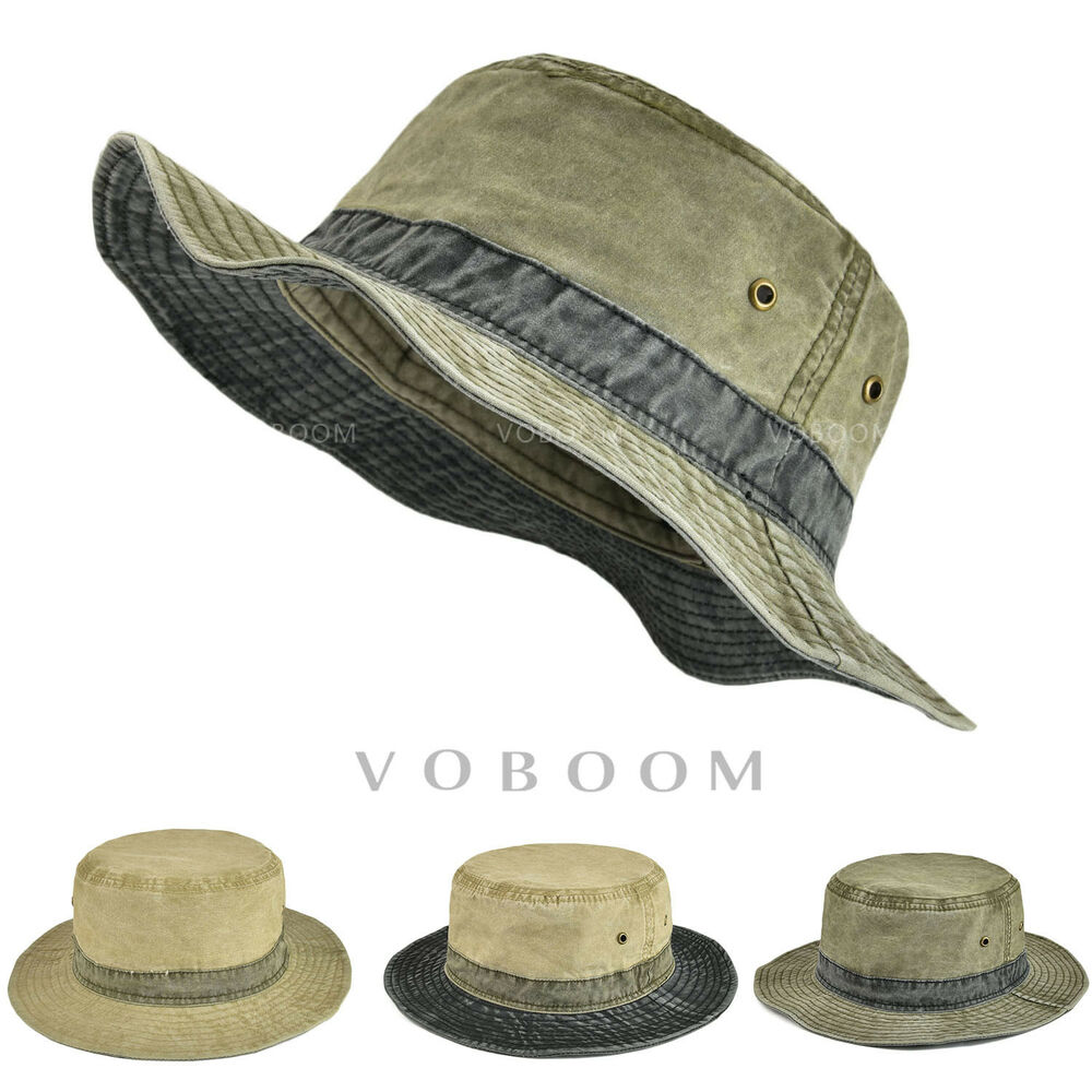 639926621a7 Details about Retro Washing Cotton Bucket Hat Boonie Hunting Fishing  Outdoor Cap Sun Hats