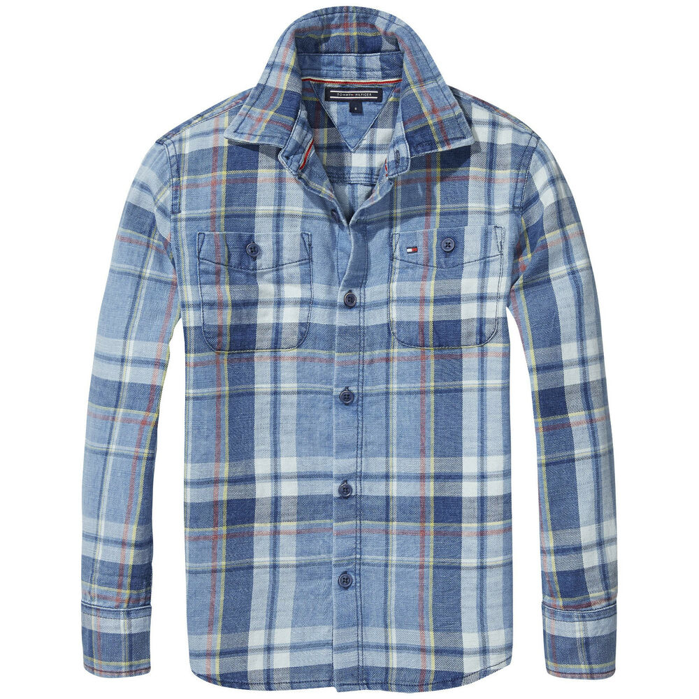 cda6f5f9 Details about Tommy Hilfiger Shirt Indigo Checkered Size 116,122, 128,140,  164 New 59,9 -69, 9