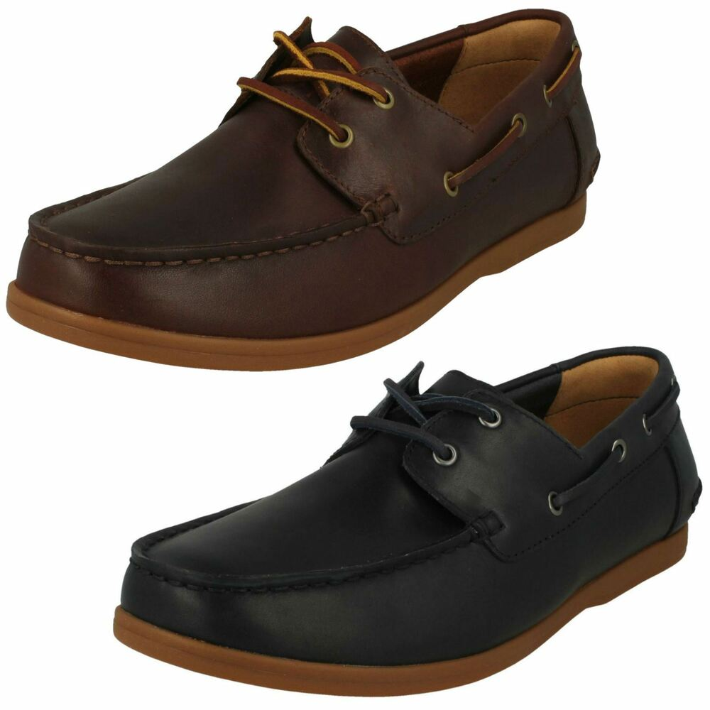 5ccf2728b4a Details about Mens Clarks Morven Sail British Tan Or Navy Leather Casual  Lace Up Boat Shoes