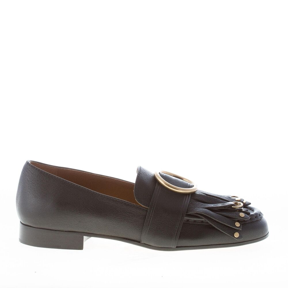 939604b796af Details about CHLOE  women shoes Olly black leather loafer long fringes gold  ring CH29160E42