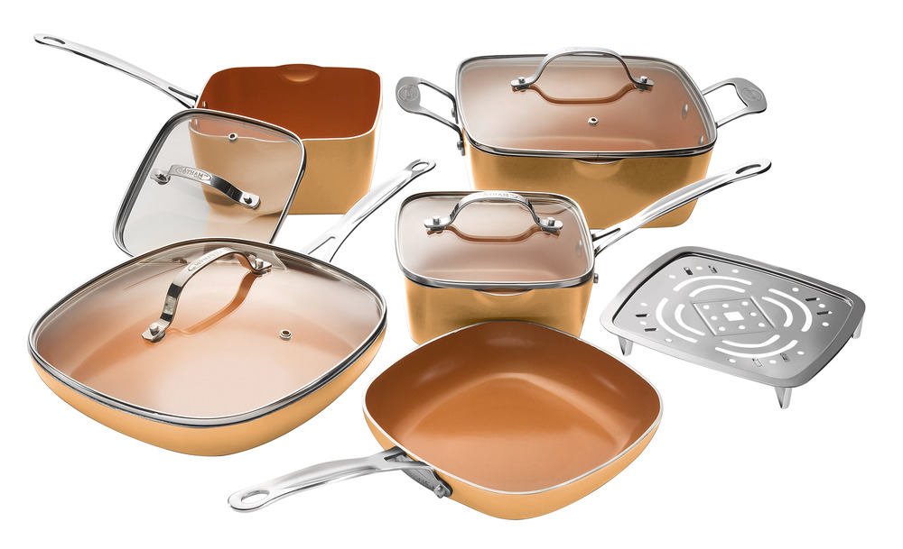 gotham steel 10 piece nonstick square frying pan and cookware set copper new ebay. Black Bedroom Furniture Sets. Home Design Ideas