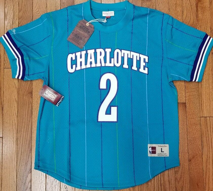 11559d6b4 low cost mitchell and ness hornets 2 larry johnson purple throwback stitched  nba jersey afcff 083cb