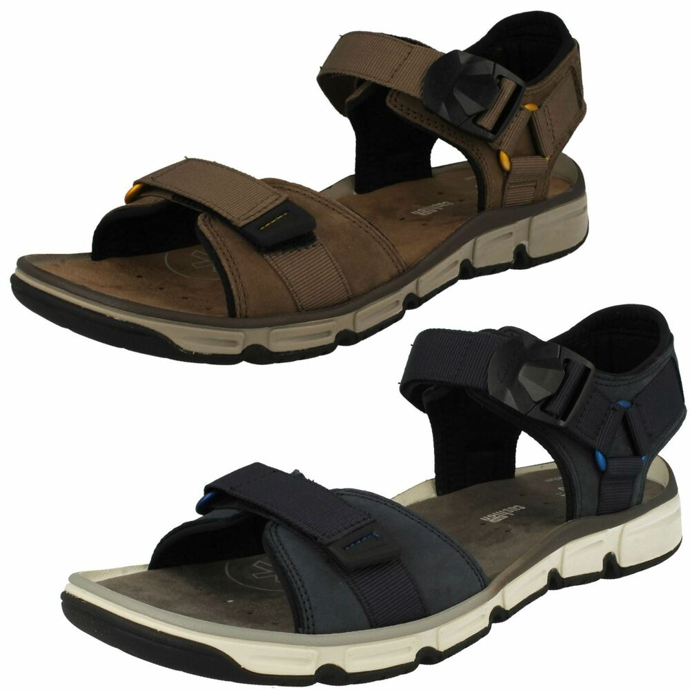 bdd1a9a63ee92f Details about Mens Clarks Explore Part Navy Or Mushroom Leather Casual  Strapped Sandals