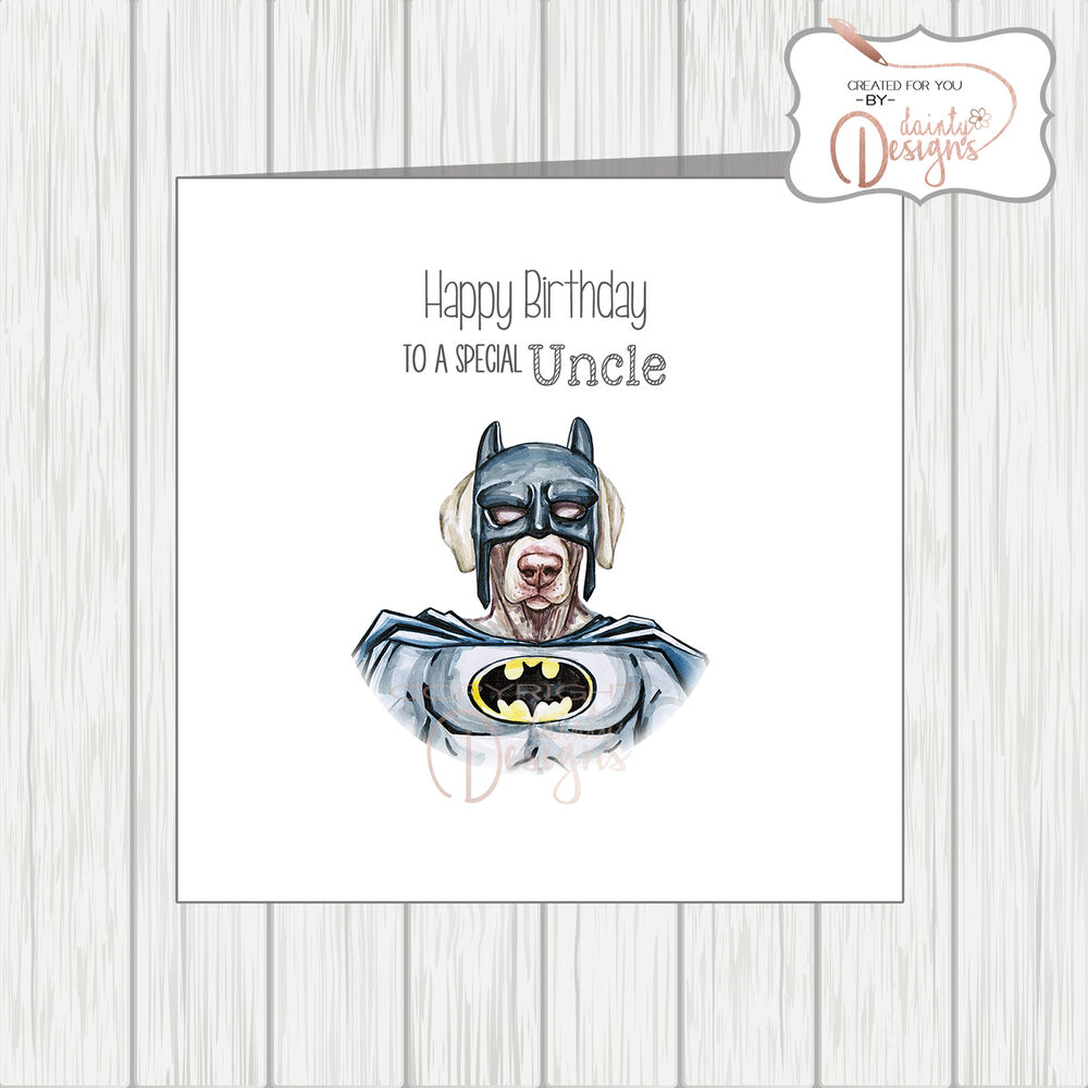 Details About Superhero Dog In Batman Outfit Funny Quirky Birthday Card Brother Uncle Husband