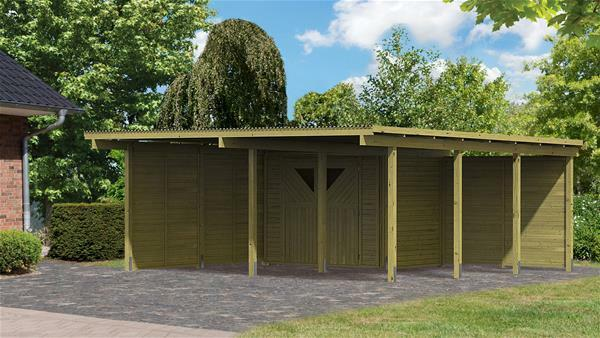 Karibu Eco Carport Mit Abstellraum 1 Kdi 563x676cm + Wand Set
