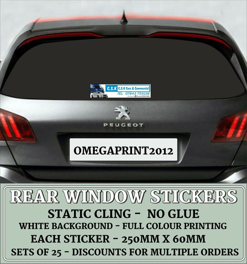 50 x rear window stickers personalised car sales vinyl decals full colour ebay