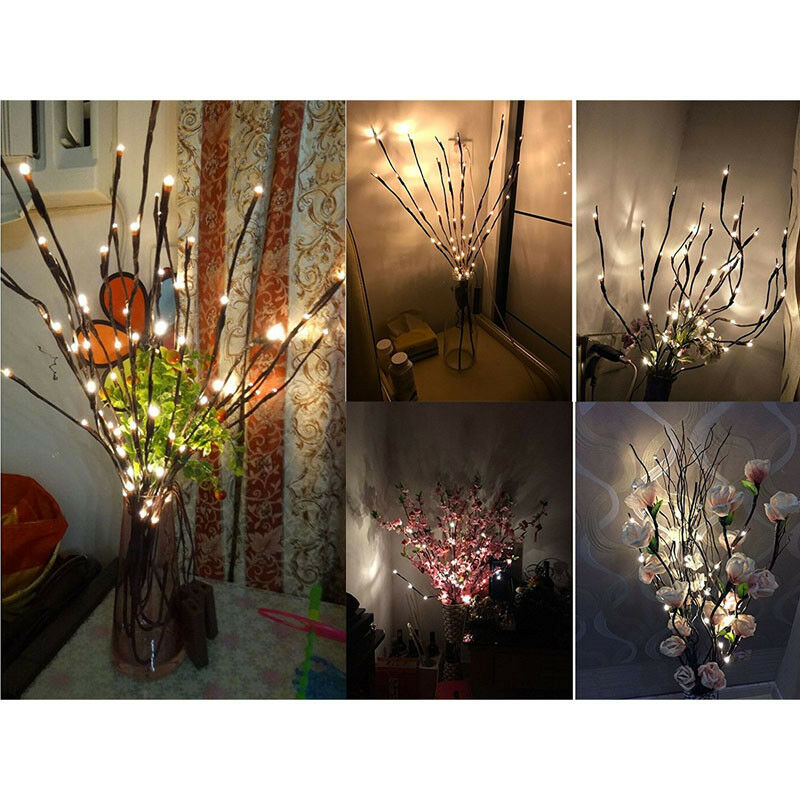 Details About 80cm 3v 20 Led Warm White Lights Willow Twig Lighted Branch For Home Decoration