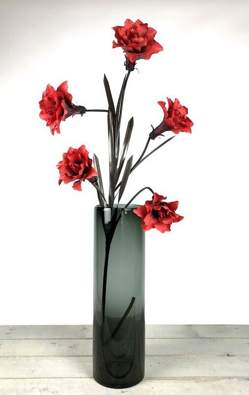 Details about Handmade Mouth Blown Black Glass Cylinder Vase For Flowers Tall 50cm  sc 1 st  eBay & Handmade Mouth Blown Black Glass Cylinder Vase For Flowers Tall 50cm ...