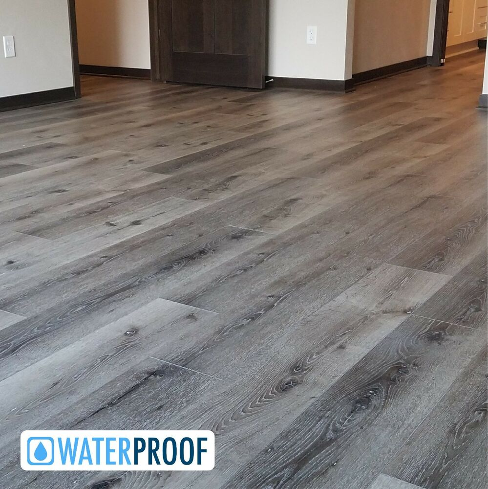 Details about SAMPLE Luxury Grey Waterproof Plank Improved Laminate Flooring - Mountain 8.5mm