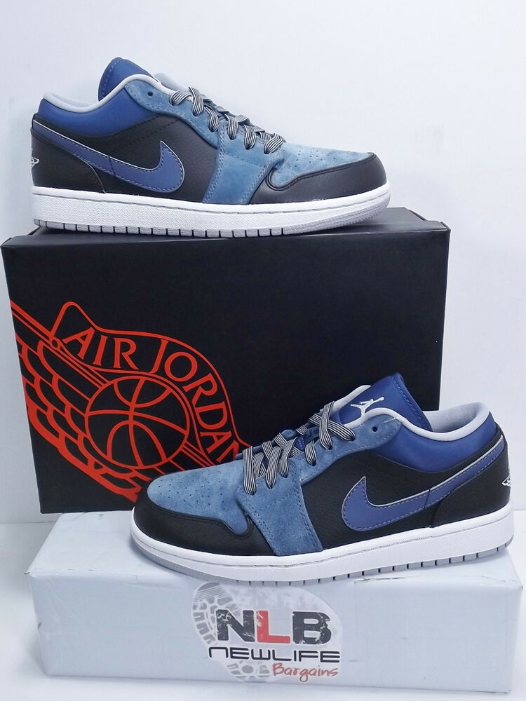 5c521ab6948 Details about Nike Air Jordan 1 Low 553558 015 Black Wolf Grey Mens Size 7