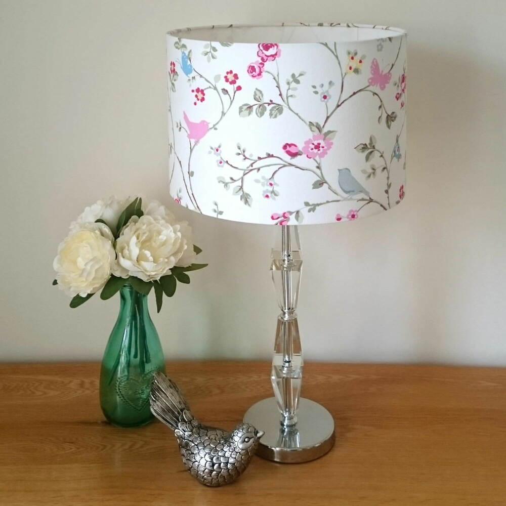Cream Blue Pink Bird Butterfly Floral Lampshade Ceiling Bedside