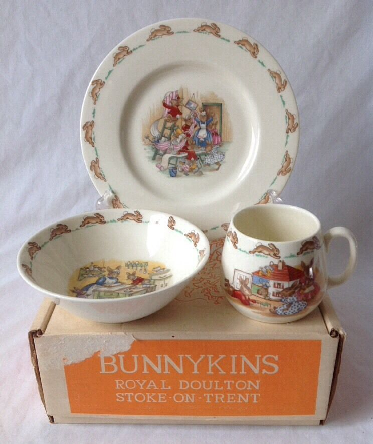 Vintage Royal Doulton Bunnykins 3 Pc Childs Set Stoke on Trent Bowl Plate Cup | eBay & Vintage Royal Doulton Bunnykins 3 Pc Childs Set Stoke on Trent Bowl ...