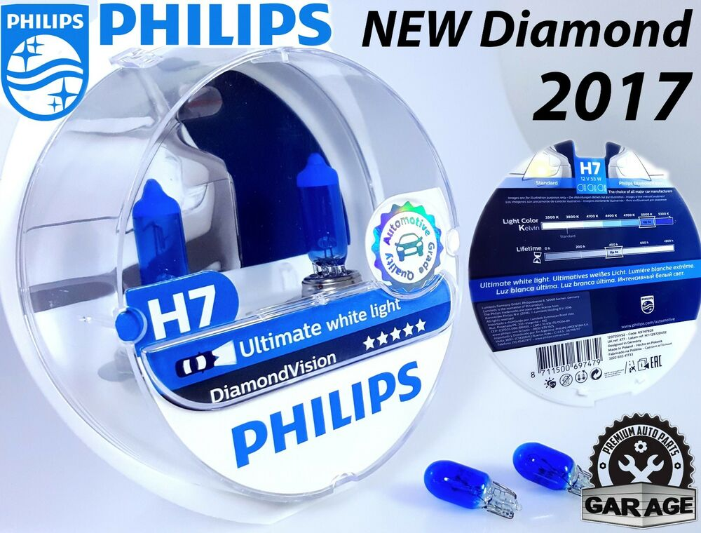 new h7 philips diamond vision 5000k white car headlight bulbs 12v 55w blue w5w 8711500697479. Black Bedroom Furniture Sets. Home Design Ideas