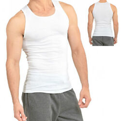 Kyпить 3-6 Packs Mens 100% Cotton Tank Top A-Shirt Wife Beater Undershirt Ribbed Muscle на еВаy.соm