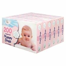 6 BOX (1200) NAPPY BAGS BABY Disposable Scented Fragranced Sack Bin Tie Handles