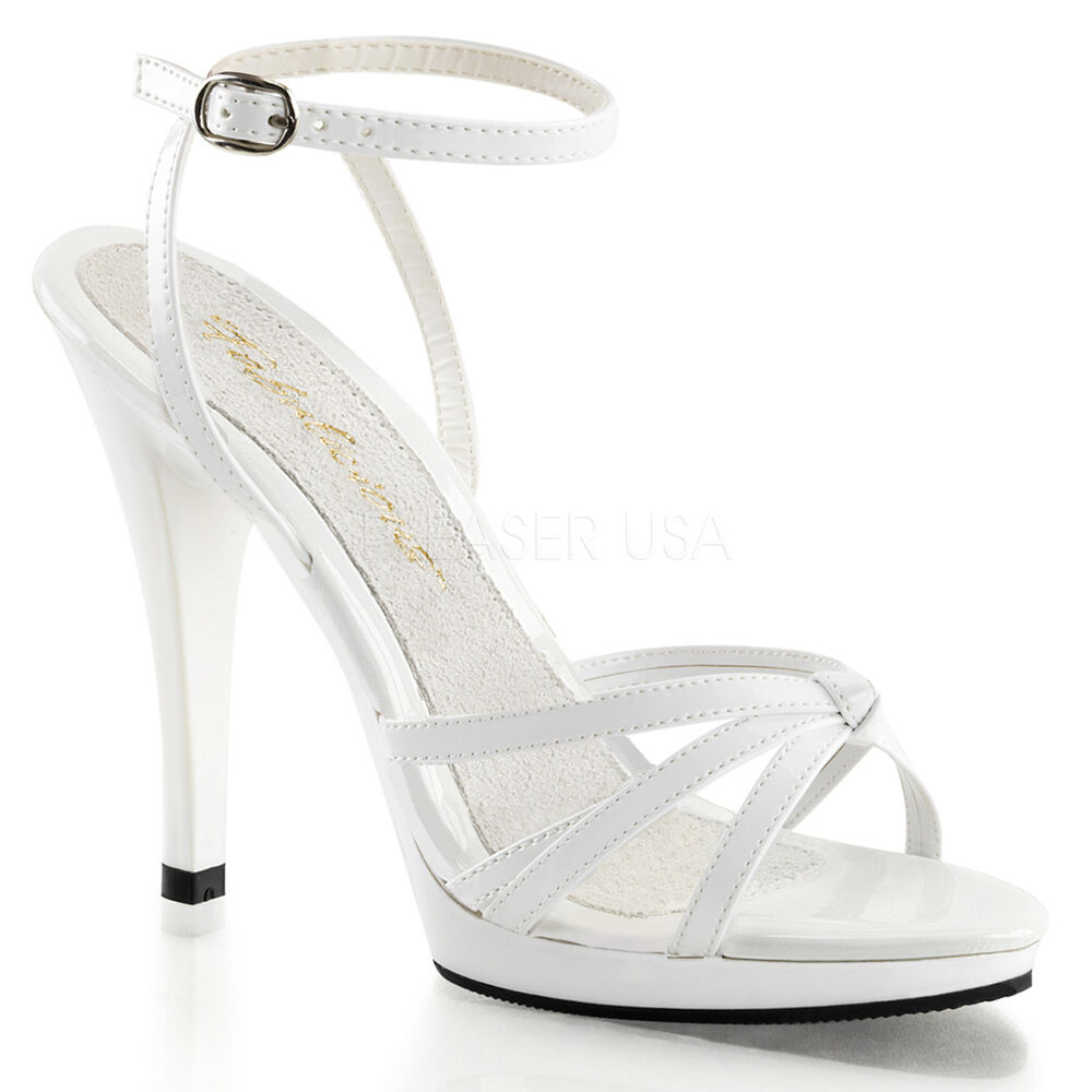 4280dda075a7 Details about White Strappy Salsa Dance Shoes Mens Drag Queen Trans Heels  Large Size 13 14 15