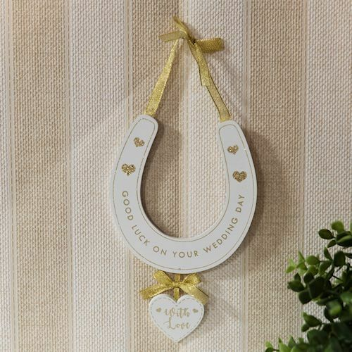 Horseshoe Wedding Gift: Good Luck On Your Wedding Day Horseshoe Plaque Sign