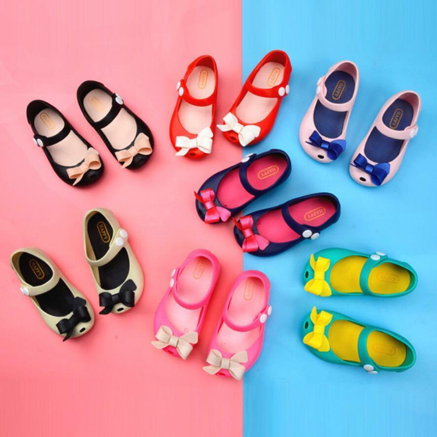 ec226fb642d46 Details about Fashion Toddler Girls Kids Bow Flat Jelly Sandals Princess Summer  Beach Shoes