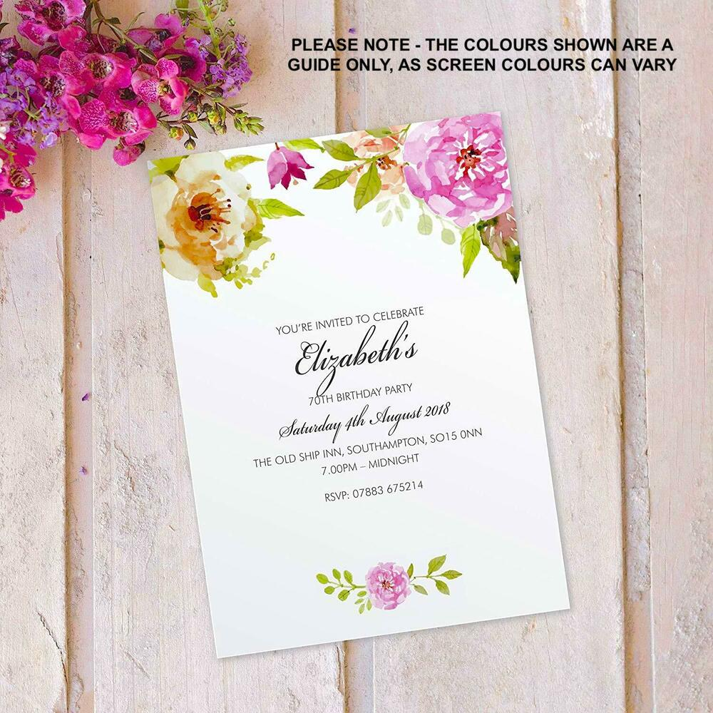 Details About 50th 60th 70th 80th 90th Birthday Party Invitations Invites X10 FLF 12