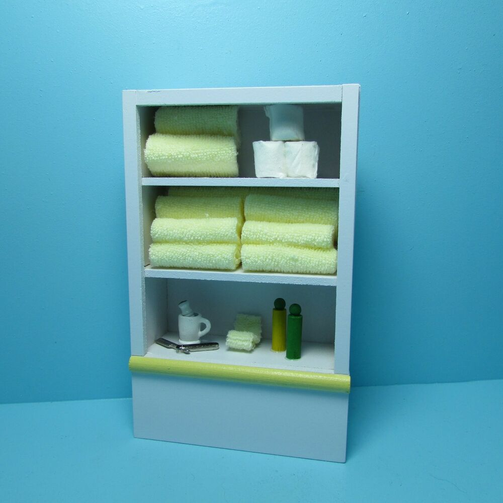 Genial Details About Dollhouse Miniature Yellow Bathroom Cabinet Filled Towels,  Toilet Paper U0026 More