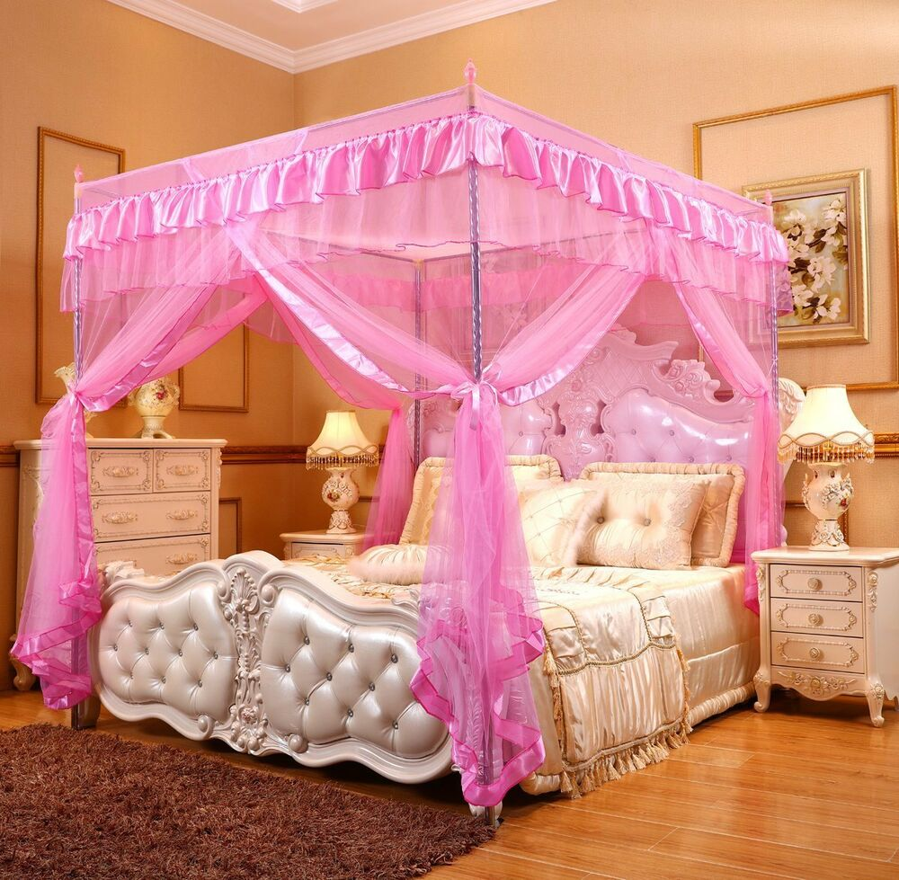 Pink Ruffled Four 4 Post Bed Canopy Netting Curtains Sheer
