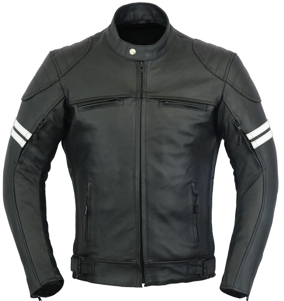 blouson franklin cuir veste moto manteau protection ebay. Black Bedroom Furniture Sets. Home Design Ideas