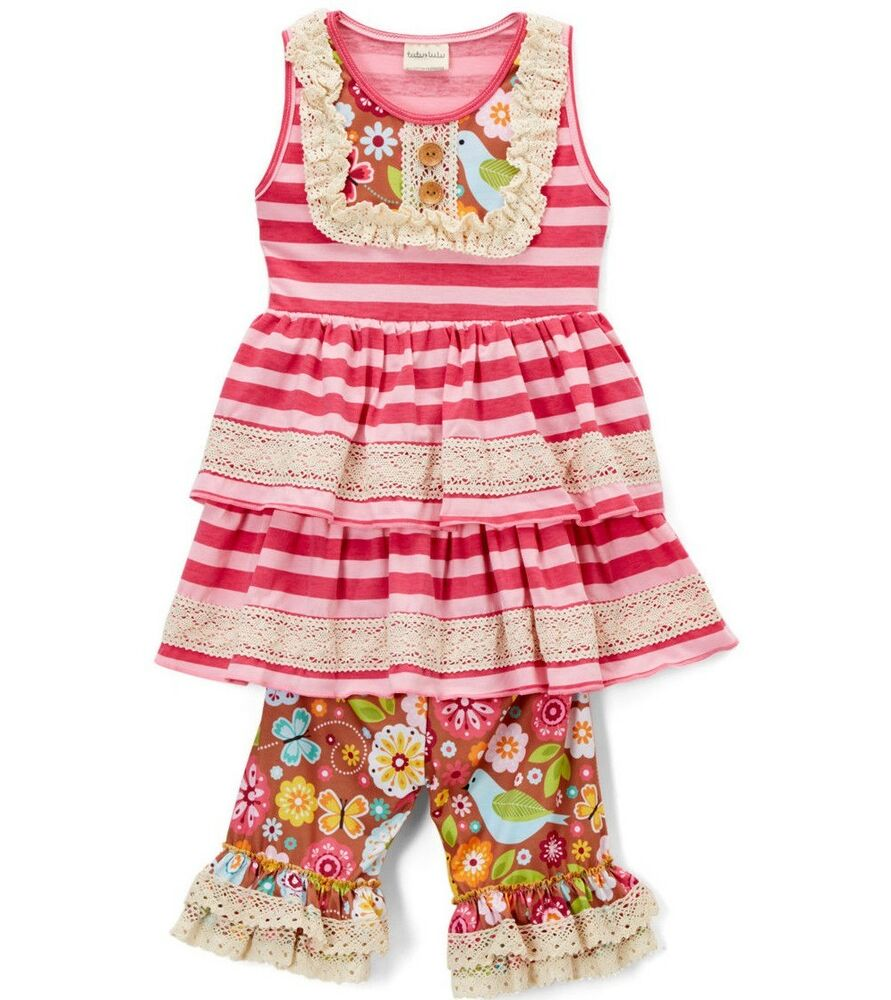 bd02f6ffaa50f Details about Girls TUTU & LULU tiered ruffle outfit 2T 3T 4T 5 6 7 8 NWT crochet  lace dress