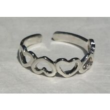Solid Sterling Silver 925 Toe Ring Hearts Heart Design Adjustable