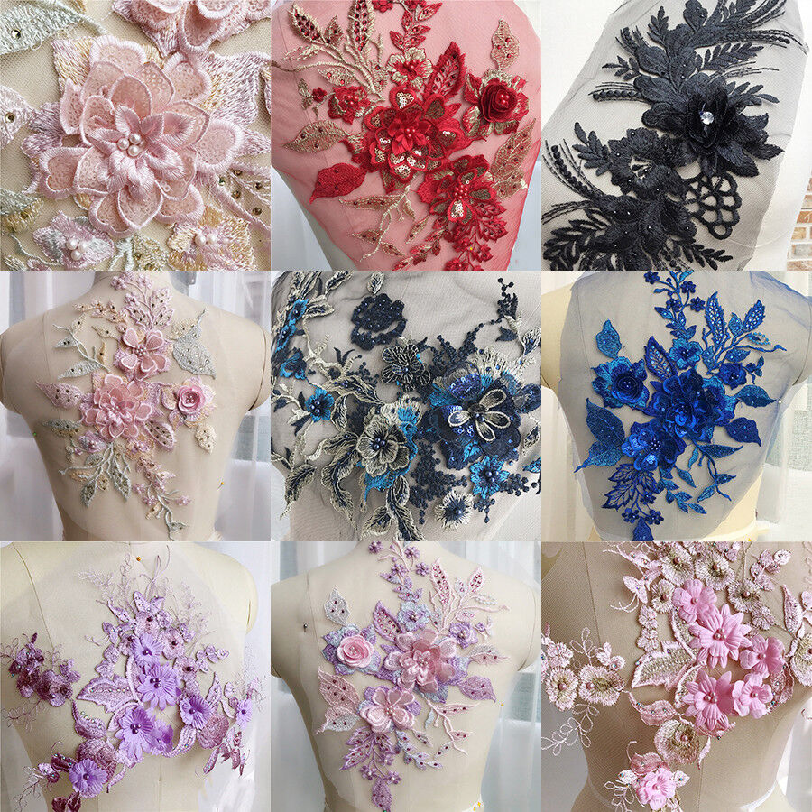 3D Embroidery Flower Lace Bridal Applique Pearl Beaded Tulle DIY Wedding Dress *