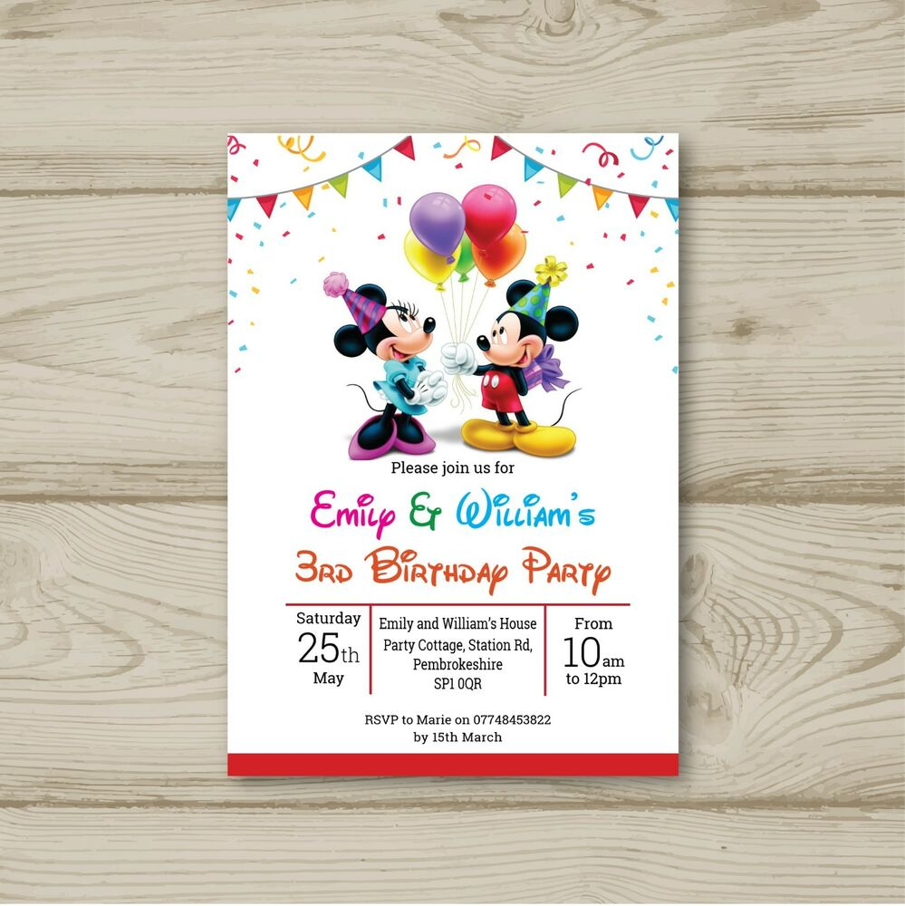 Details About Mickey Mouse Minnie Balloons Birthday Party Invitations Personalised