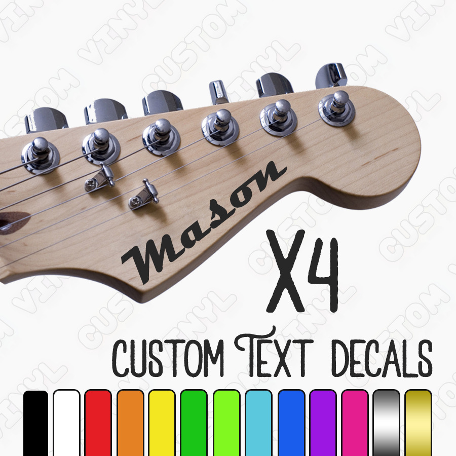 Details about custom guitar name stickers 4x personalised name decal electric acoustic decals