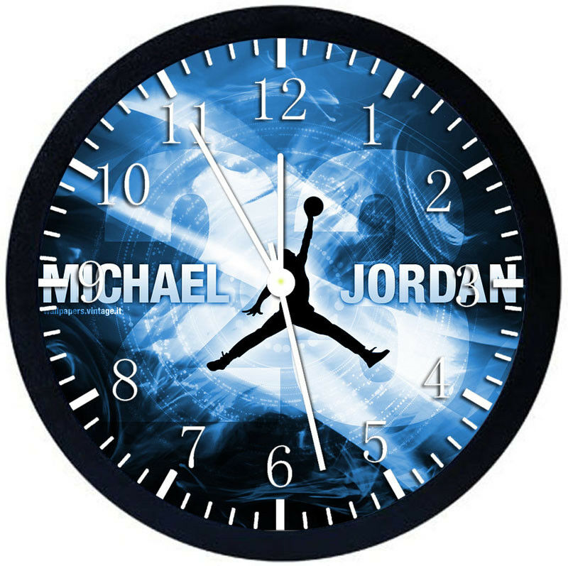 69129b6216a5 Details about Michael Jordan Black Frame Wall Clock Nice For Decor or Gifts  X34