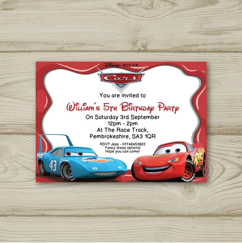 Details About Disney Cars Lightning McQueen Birthday Party Invitations Personalised
