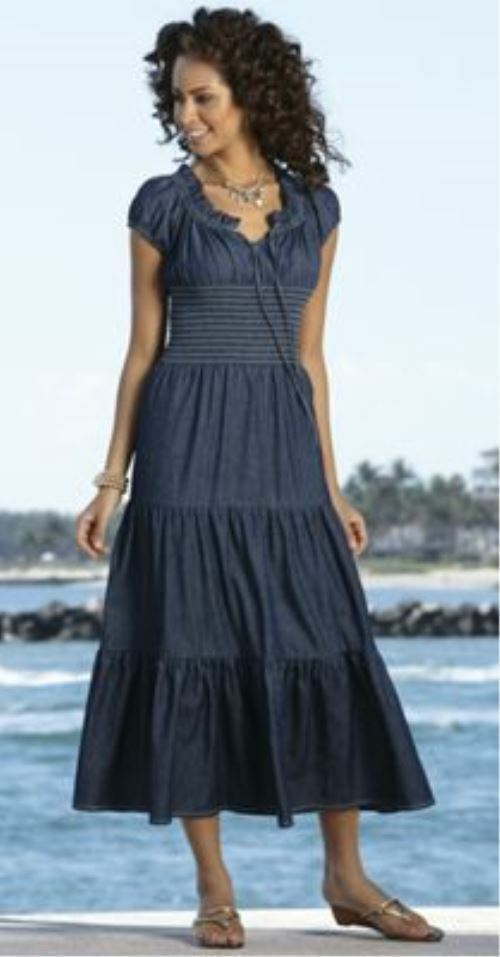 036848c67c Details about Monroe and Main Denim Blue Summer Maxi Sundress Peasant  Dreams Dress Cruise S