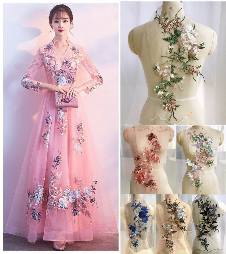 Diy Wedding Gowns: 3D Embroidery Flower Lace Bridal Applique Pearl Beaded