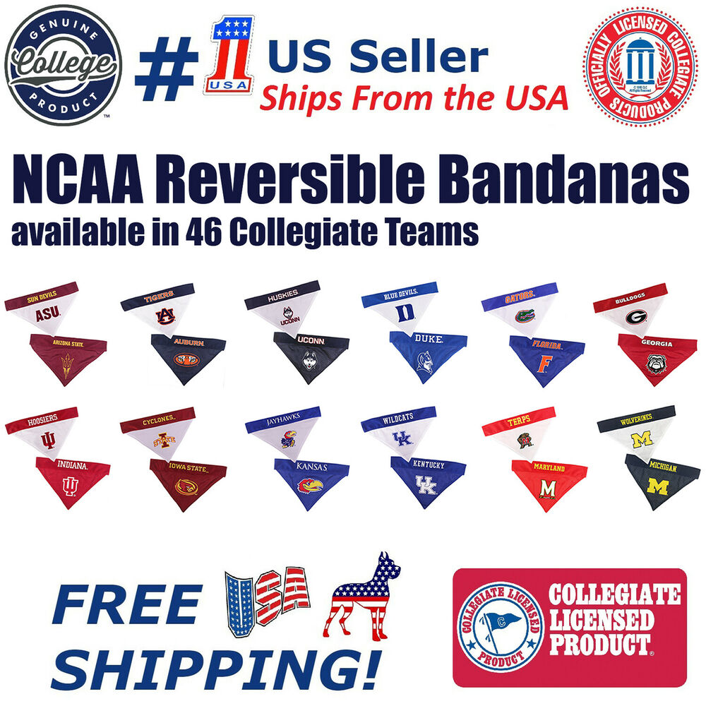 0eac0267996 Details about NCAA Reversible Bandana - Home   Away Mesh   Premium  Embroidery for DOGS   CATS.