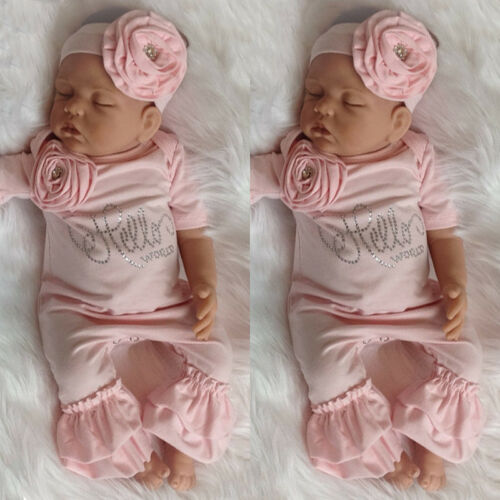 US Newborn Baby Girl 3D Flowers Romper Bodysuit Jumpsuit Headband Outfit Clothes
