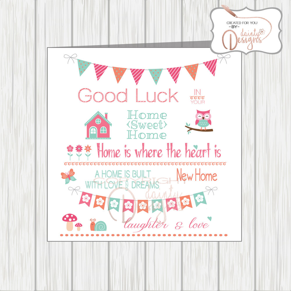 New Home Is Where The Heart Is Card Sentiments Quotes Bunting