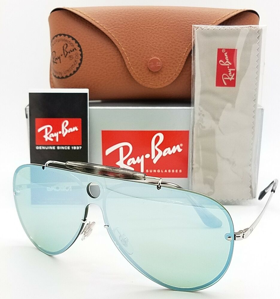 2e4816c7f4 Details about NEW Rayban Blaze Shooter Sunglasses RB3581N 003 30 32 Silver  Dark Green Aviator
