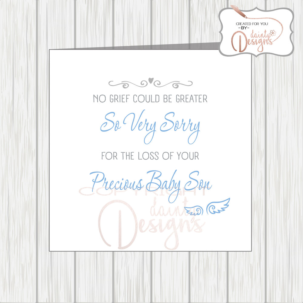 Sympathy Card Loss Of Your Baby Boy Blue Angel Wings ...