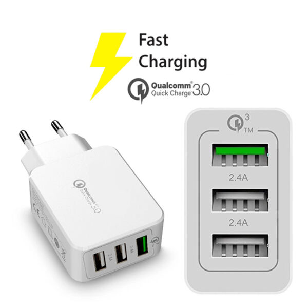 CARICATORE FAST CHARGE 3 USB 3.0 30W PER HUAWEI UNIVERSALE SPINA CARICA VELOCE