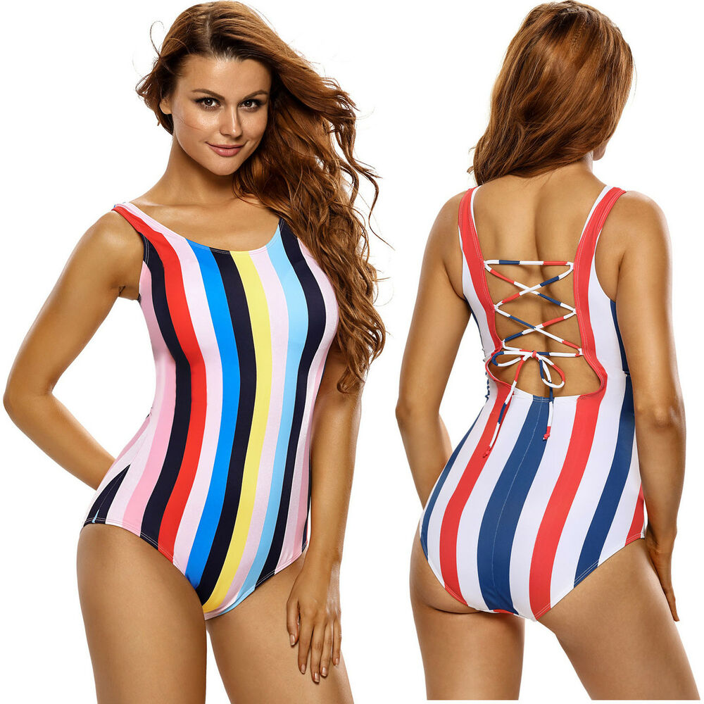 53ad8a2fb3 Details about Multicolor vertical stripes lace up back one piece swimsuit  swimming pool summer