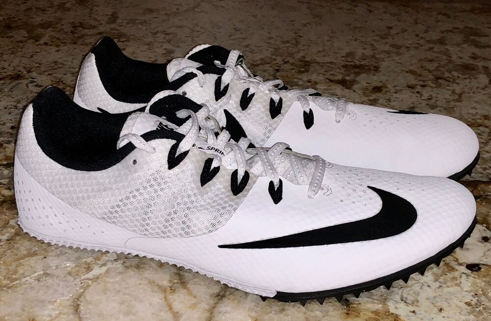 innovative design 76afd 5a256 Details about NIKE RIVAL S 8 White Black Sprint Track Spikes Shoes NEW Mens  Sz 11