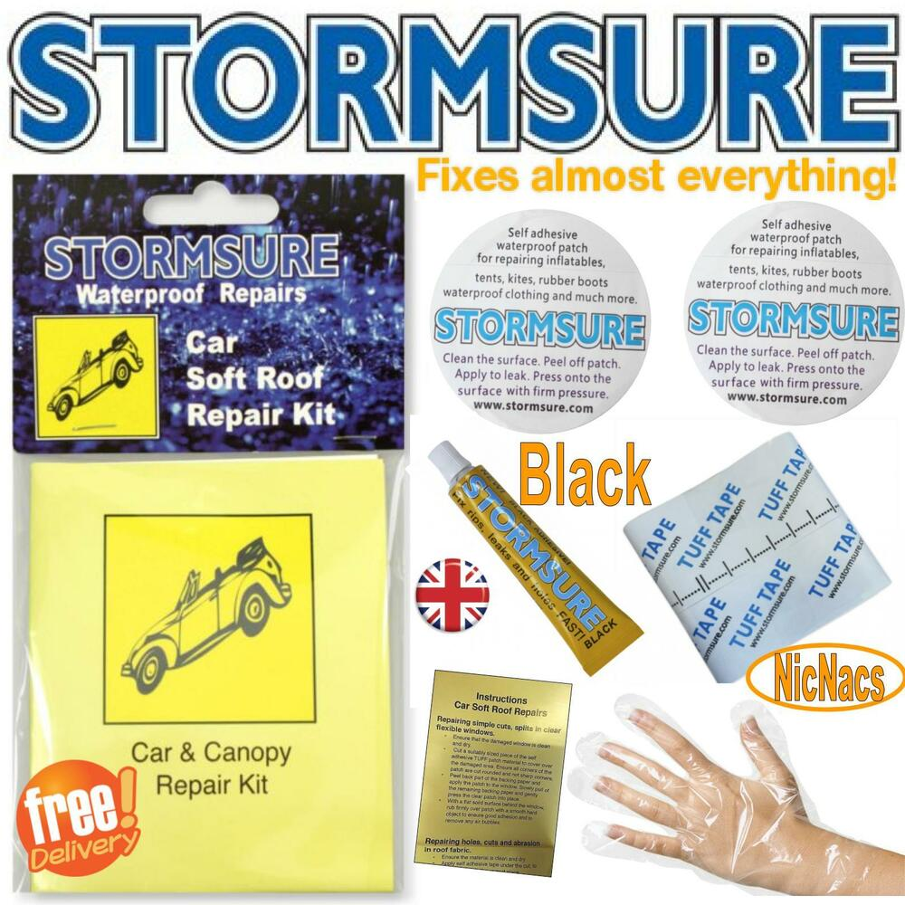 Details About Black Soft Top Car Roof Convertible Repair Kit Includes Patches Glue Stormsure