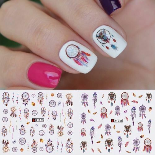Nail Art Water Transfer Sticker Dream Catcher Feather Decal Manicure