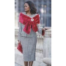 Ashro Black White Red Houndstooth Downtown Jacket Dress Church Party Size 6 8