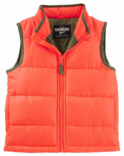 25ef8f4b87aa Oshkosh Toddler Boy s Orange Quilted Puffer Vest Winter Outerwear 3T ...